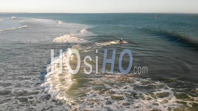 Aerial View Of Freeride Jet Ski In Royan A La Cote Sauvage In Charente Maritime, France, Filmed By Drone In Summer Evening, Charente Maritime