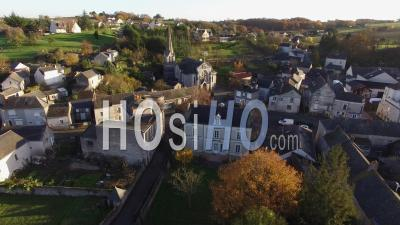 Chaudefonds On Layon And Church - Video Drone Footage