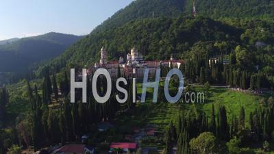 New Athos Monastery Aerial View Over Plan - Video Drone Footage