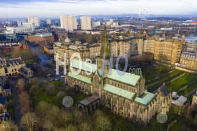 View Of Glasgow Cathedral And City Of Glasgow ,Scotland, Uk - Aerial Photography