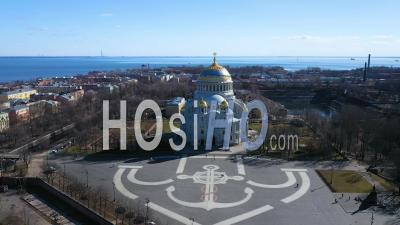 Kronstadt Naval Cathedral Long Shot Aerial View Zoom In - Video Drone Footage