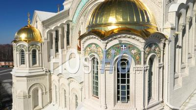 Kronstadt Naval Cathedral View Of Golden Domes, Mosaics And Stained Glass Windows Close Up Shot. - Video Drone Footage