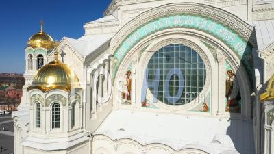 Kronstadt Naval Cathedral View Of Golden Domes, Mosaics And Stained Glass Windows. Camera Go To The Top To The Cross - Video Drone Footage