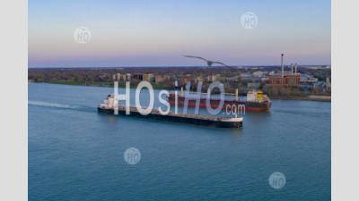 Great Lakes Freighters On The Detroit River - Aerial Photography