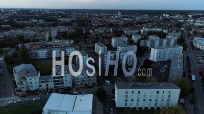 Corbeil-Essonnes And Buildings At Sunset - Video Drone Footage