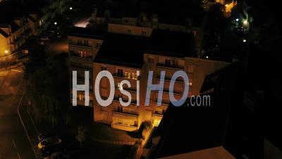 Buildings Suburb Corbeil-Essonnes Night - Video Drone Footage