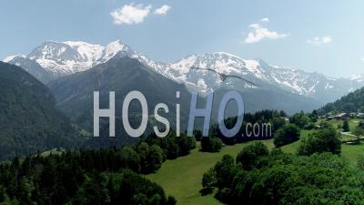 Aiguille De Bionassay And The Dome De Miage With Snow - Video Drone Footage