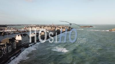The Phenomenon Of High Tides In Saint-Malo - Beach Du Sillon And City Intramural - Video Drone Footage
