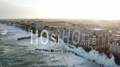 High Tides In Saint-Malo - Beach Du Sillon - Video Drone Footage