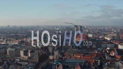 The Famous German Cathedrals Frauenkirche, New Town Hall And St. Peter's Church In City Center Of Munich, Germany With View Of Marienplatz, Aerial Dolly Slide Right - Video Drone Footage