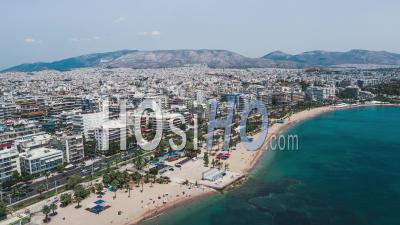 Aerial View Shot Of Athens, Waterfront - Video Drone Footage