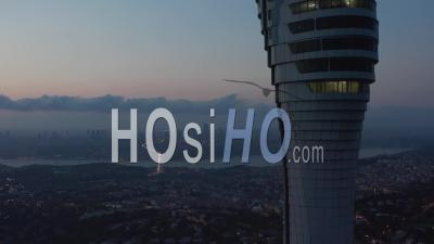 Istanbul Tv Tower On Hill With Epic View Over All Of Istanbul, Turkey At Dusk - Video Drone Footage