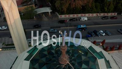 Close Up Of Crescent Moon On Top Of Mosque As Sign In Islam Muslim Prayers, Aerial Drone View