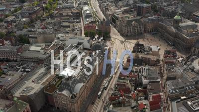 Amsterdam City Center Aerial Of Royal Palace Of Amsterdam And National Monument 4k - Video Drone Footage