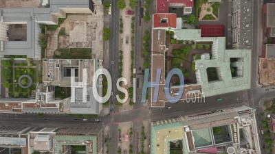 Empty European City Street In Berlin Central During Coronavirus Covid-19 Pandemic And Stay At Home Regulation In May 2020, Aerial Birds Eye Overhead Top Down View - Video Drone Footage