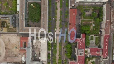 Aerial Overhead Birds Eye View Of Empty European City Street In Berlin Central During Coronavirus Covid-19 Pandemic On May 16th 2020 - Video Drone Footage