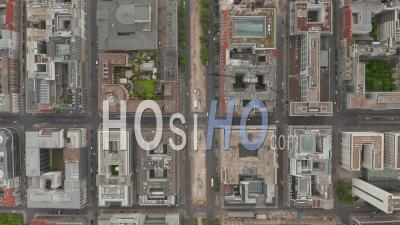 Empty European City Street In Berlin Central During Coronavirus Covid-19 Pandemic 2020, Aerial Birds Eye Overhead Top Down View - Video Drone Footage