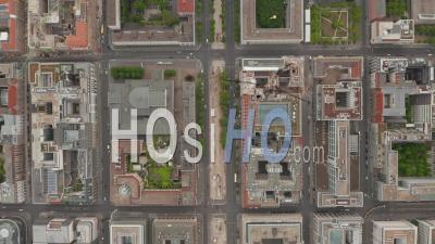 Aerial Overhead Birds View Of Empty European City Street In Berlin Central During Coronavirus Covid-19 Pandemic With Construction Sites On May 16th 2020 - Video Drone Footage