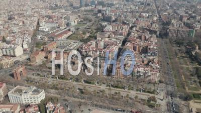 Aerial Wide Shot Flight Over Barcelona On Bright Sunny Day 4k - Video Drone Footage