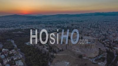 Athens Aerial Drone Hyper Lapse Over Acropolis At Sunset 4k