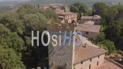 Aerial View Of A Medieval Castle In The Heart Of Italy - Video Drone Footage