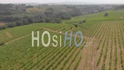 Aerial Landscape Of The Scenic Vineyards In The Heart Of Tuscany - Chianti Region - Video Drone Footage