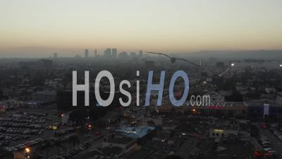 Over Shopping Street Fairfax Los Angeles, California, At Sunset 4k - Video Drone Footage