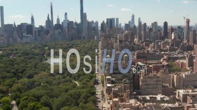 Flight Over Beautiful New York City Street At Central Park On Sunny Summer Day 4k - Video Drone Footage