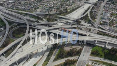 Spectacular Judge Pregerson Highway Showing Multiple Roads, Bridges, Viaducts With Little Car Traffic In Los Angeles, California On Beautiful Sunny Day 4k - Video Drone Footage