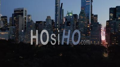 Manhattan Skyline At Night With Flashing City Lights In New York City At Central Park In Beautiful 4k - Video Drone Footage