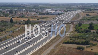 Toll Booth Baillargues-Montpellier With Caravan In The Morning With Moderate Traffic - Video Drone Footage