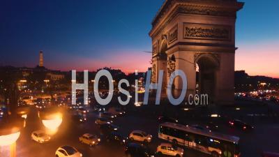 Aerail View Arch Of Triumph Paris Night Dusk Sunset Tour Eiffel Tower Reveal Shot