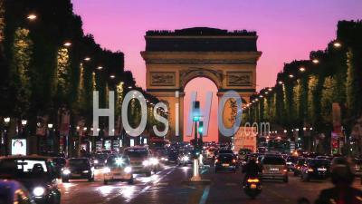 Champs Elysees And Arc De Triumphe At Sunset
