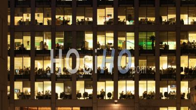 Time Lapse Of The Exterior Of A Modern Office Block At Night