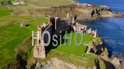 Tantallon Castle In East Lothian, Scotland, - Video Drone Footage