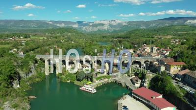 Aqueduct In Saint-Nazaire-En-Royans Between Grenoble And Valence, France, Drone Point Of View