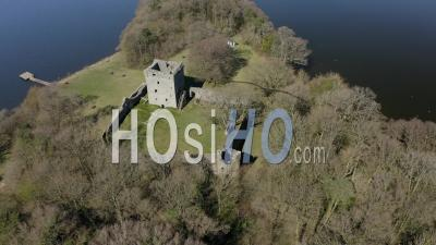Lochleven Castle On Loch Leven In Scotland, Uk - Video Drone Footage