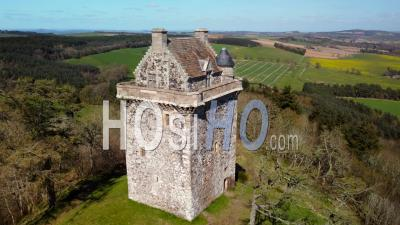 Aerial View Filmed By Drone Of Fatlips Castle In Roxburghshire, Scottish Borders, Scotland, Uk