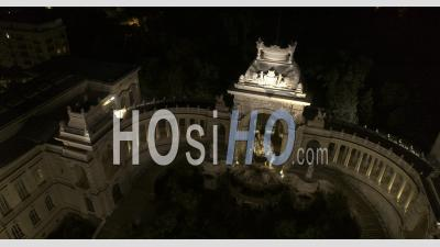Palais Longchamps, Marseille By Night In Video 6k - Video Drone Footage