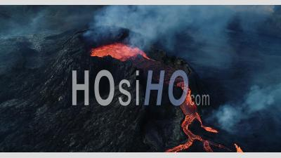Lava Lake And Lava Flows Of Geldingadalur Eruption In Iceland - Video Drone Footage