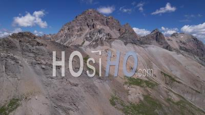 The Mountain Range Of Grand Galibier, Hautes-Alpes, France, Viewed From Drone