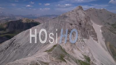 The Col Du Chaberton And The Pointe Des Trois Scies, Hautes-Alpes, France, Viewed From Drone