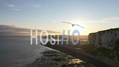 Cote D Albatre, Port, Cliff And Beach - Town Of Treport - Video Drone Footage