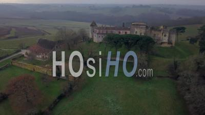 Benauge Castle In Winter, Drone Point Of View