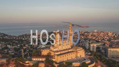Golden Hour, Magnificent Basilica Of Notre-Dame-De-La-Garde, Establishing Aerial View Shot Of Marseille Fr, Bouches-Du-Rhone, Provence-Alpes-Cote D'azur, France - Video Drone Footage