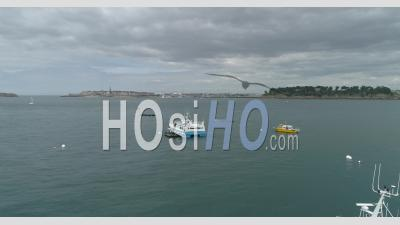 The Bay Du Prieure In Dinard, Brittany, France - Video Drone Footage