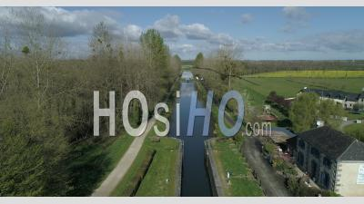 The Canal D'ille Et Rance In Hede, Brittany, France - Video Drone Footage