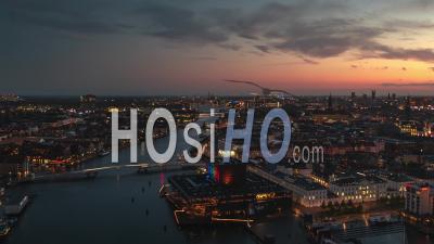 Establishing Aerial View Shot Of Copenhagen, Capital Of The North, Denmark, Mega Sunset - Video Drone Footage
