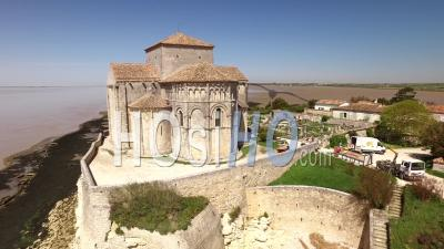 The Church Of Sainte-Radegonde In Talmont-Sur-Gironde - Video Drone Footage