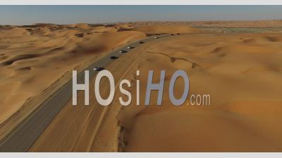 Cars On A Desert Road - Video Drone Footage